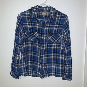 Guess plaid snap button embellished collar shirt